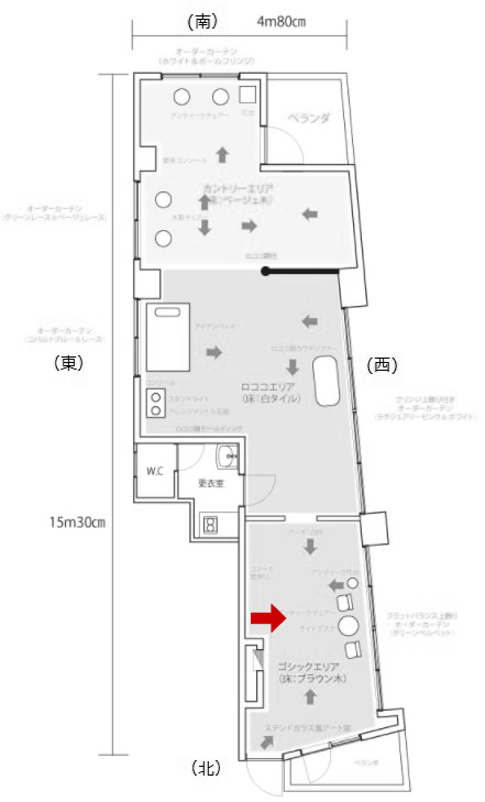 2号館ひと部屋め短辺のカメラ位置